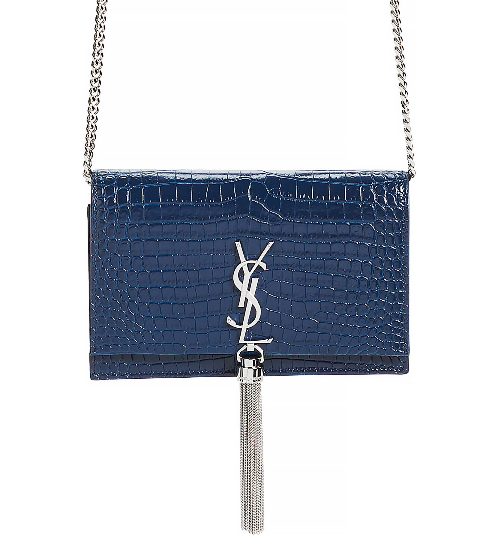 c6df24af37be Saint Laurent Kate Croc Embossed Leather Wallet on a Chain | Nordstrom