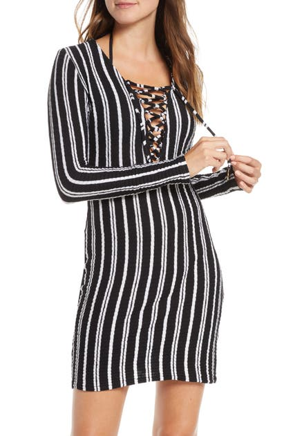 Stripe Long Sleeve Lace Up Cover Up Dress In Brut Black