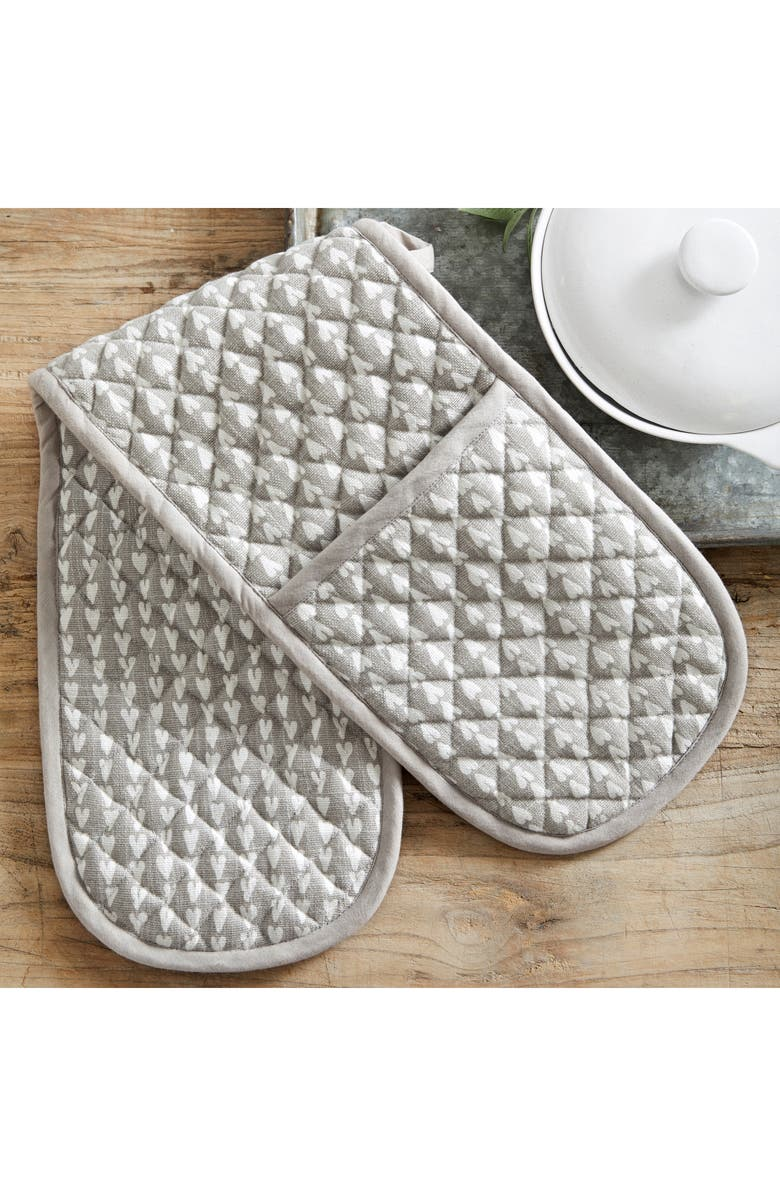 THE WHITE COMPANY Heart Print Double Oven Glove, Main, color, 020