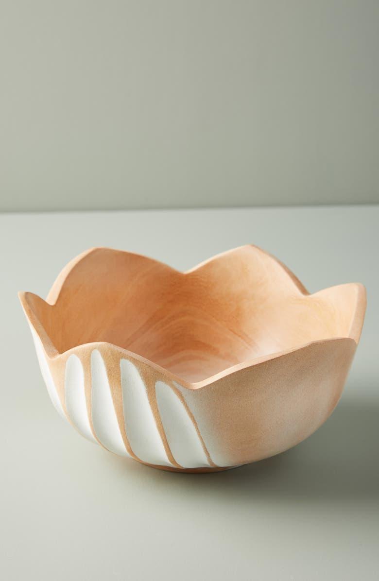ANTHROPOLOGIE Lotus Mango Wood Bowl, Main, color, WHITE