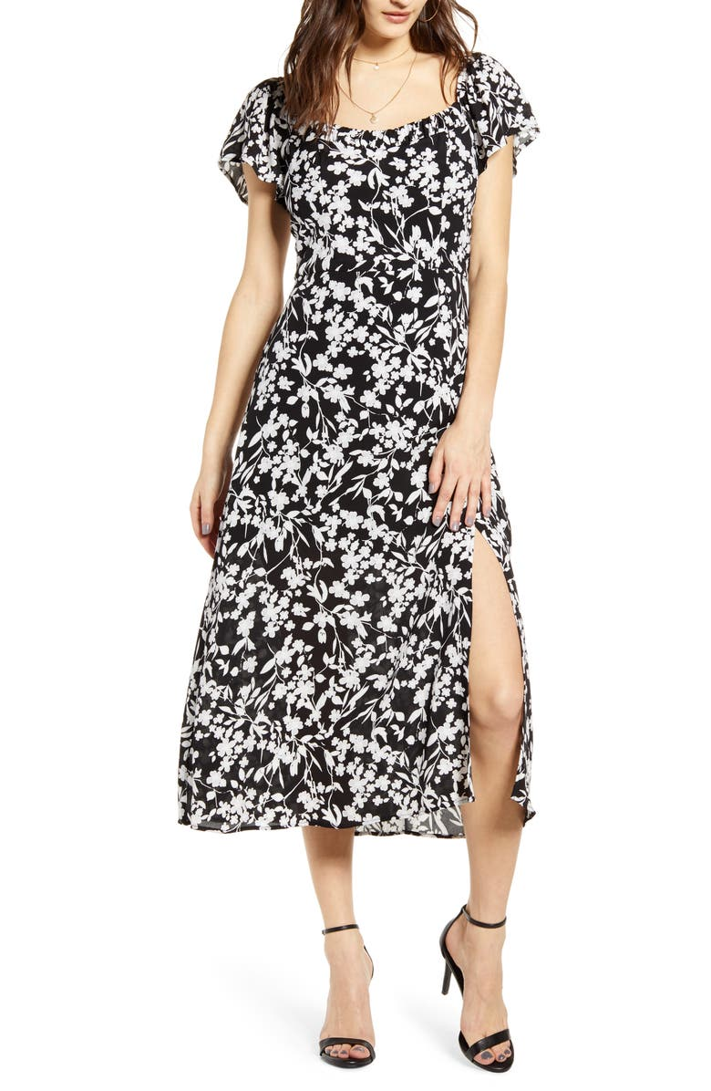 ROW A Floral A-Line Midi Dress, Main, color, BLACK/ GREY/ WHITE