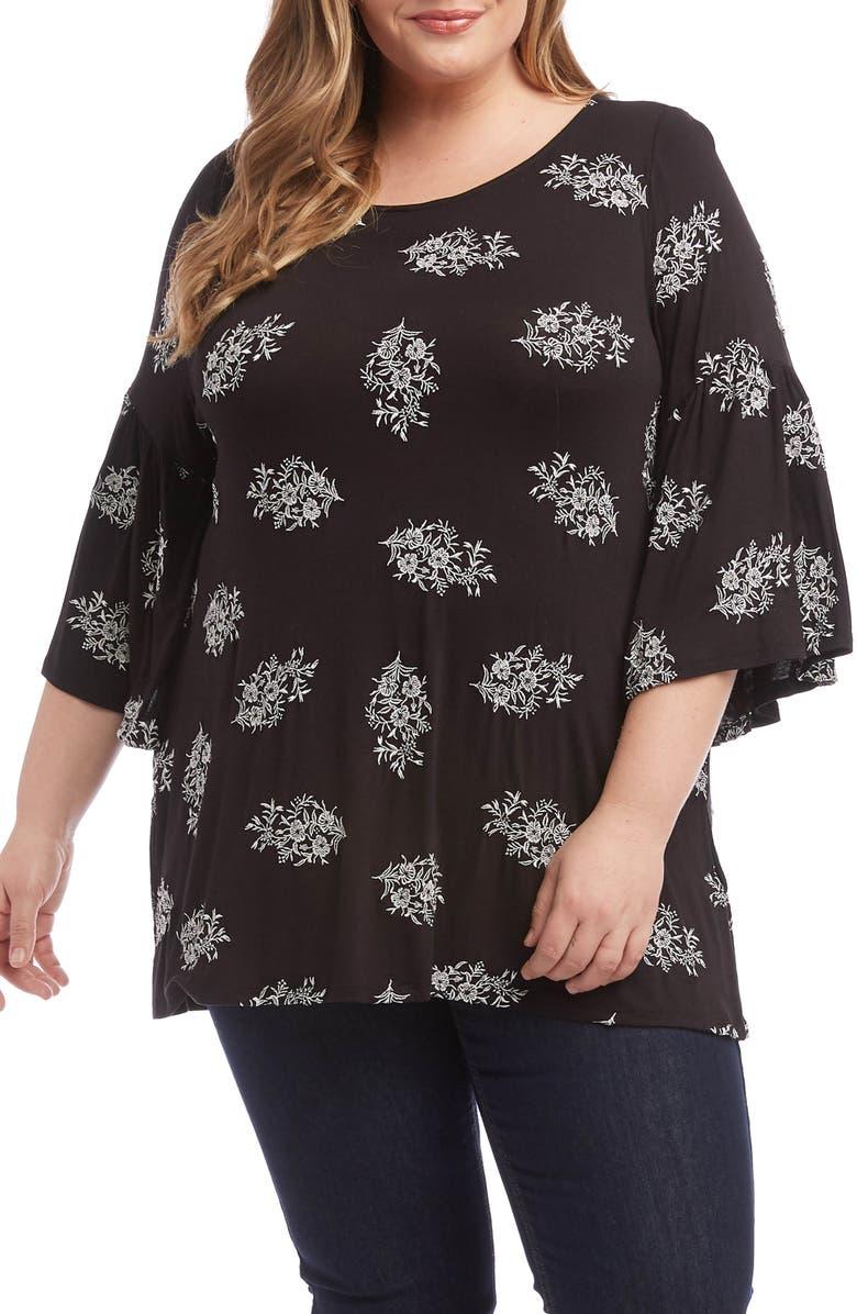 KAREN KANE Embroidered Side Slit Knit Top, Main, color, BOW