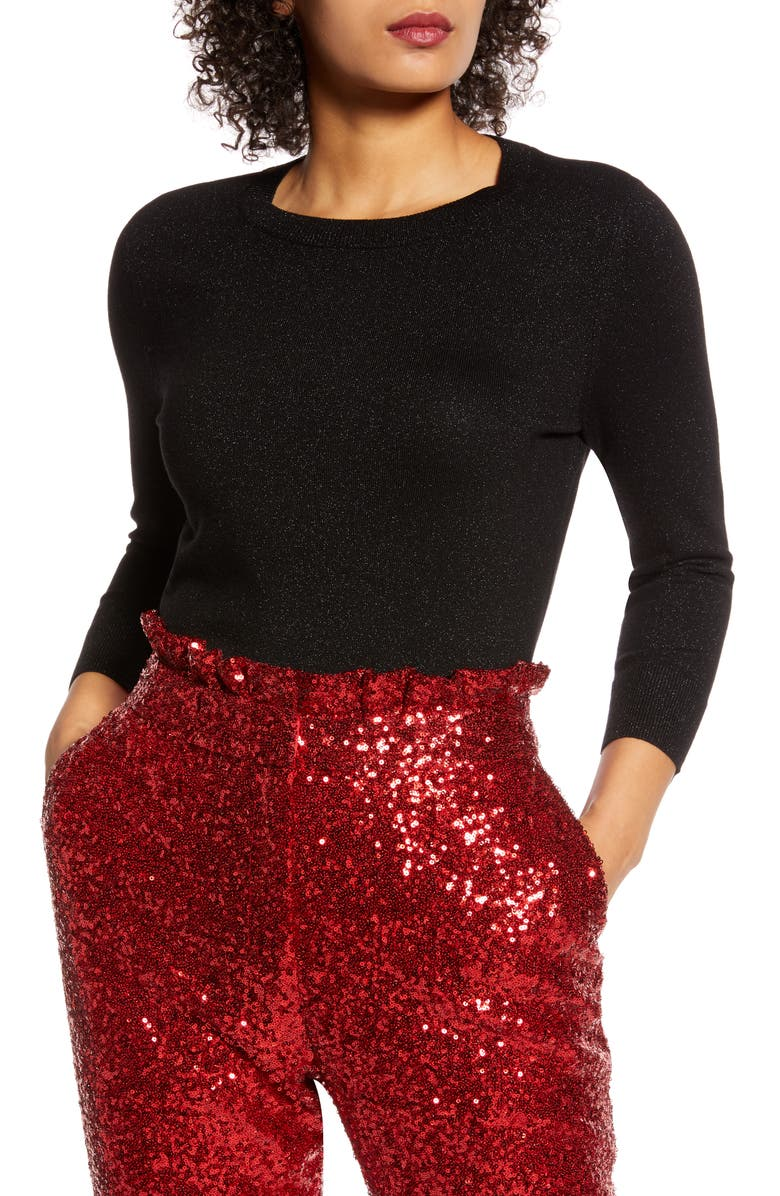 HALOGEN<SUP>®</SUP> x Atlantic-Pacific Metallic Sweater, Main, color, BLACK