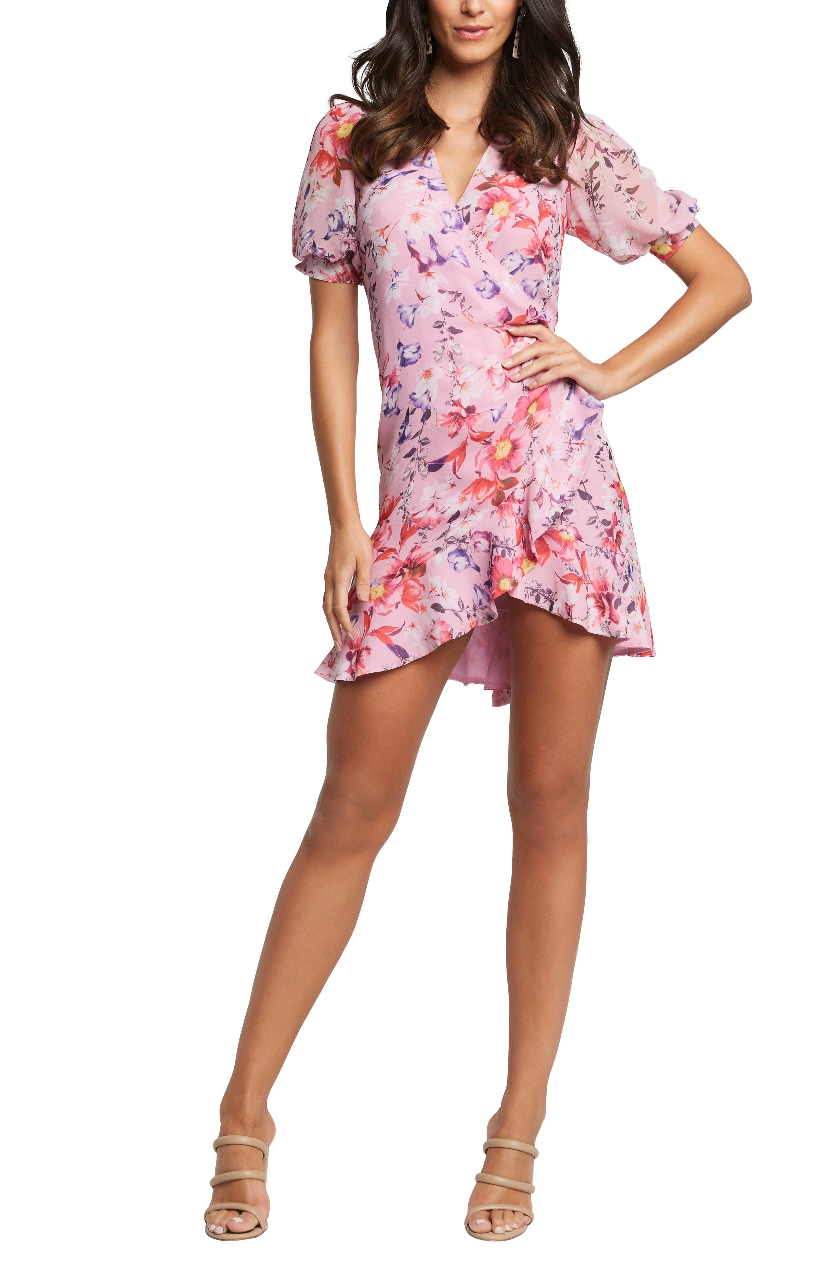 Bardot Lorita Floral Puff Sleeve Minidress, Pink