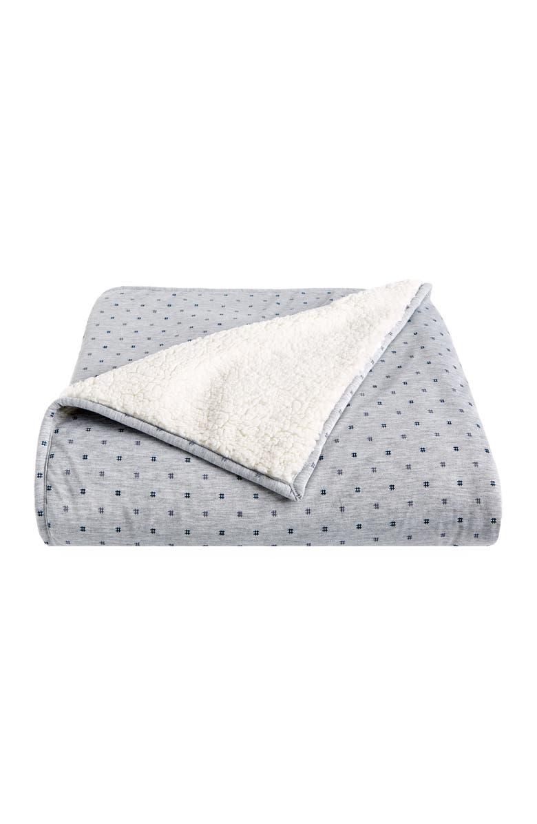 SPLENDID HOME DECOR Fleece & Jersey Hashtag Blanket Throw, Main, color, HEATHER GREY/ HASHTAG