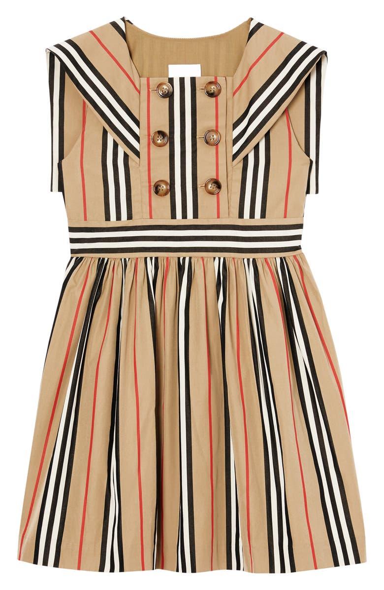 BURBERRY Oralie Icon Stripe Sailor Dress, Main, color, ARCHIVE BEIGE IP S