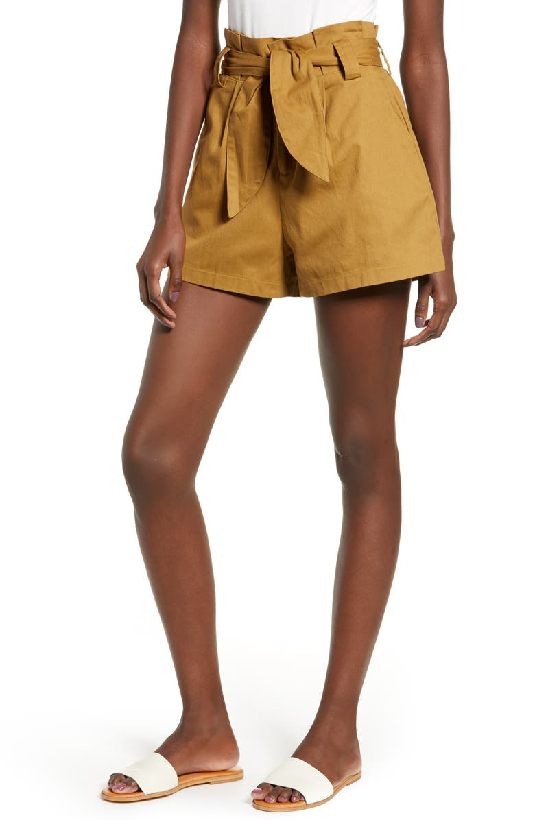 ALL IN FAVOR Paperbag Waist Shorts, Main, color, 200