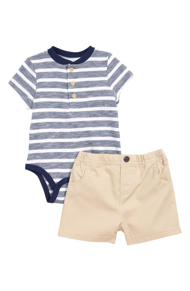 LITTLE ME Stripe Henley Bodysuit & Shorts Set, Main, color, 250