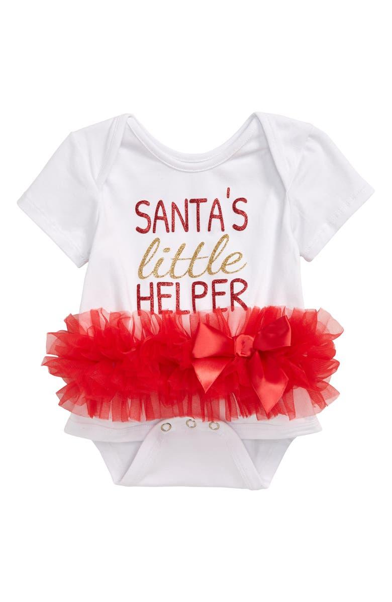POPATU Santa's Little Helper Skirted Bodysuit, Main, color, WHITE/ RED