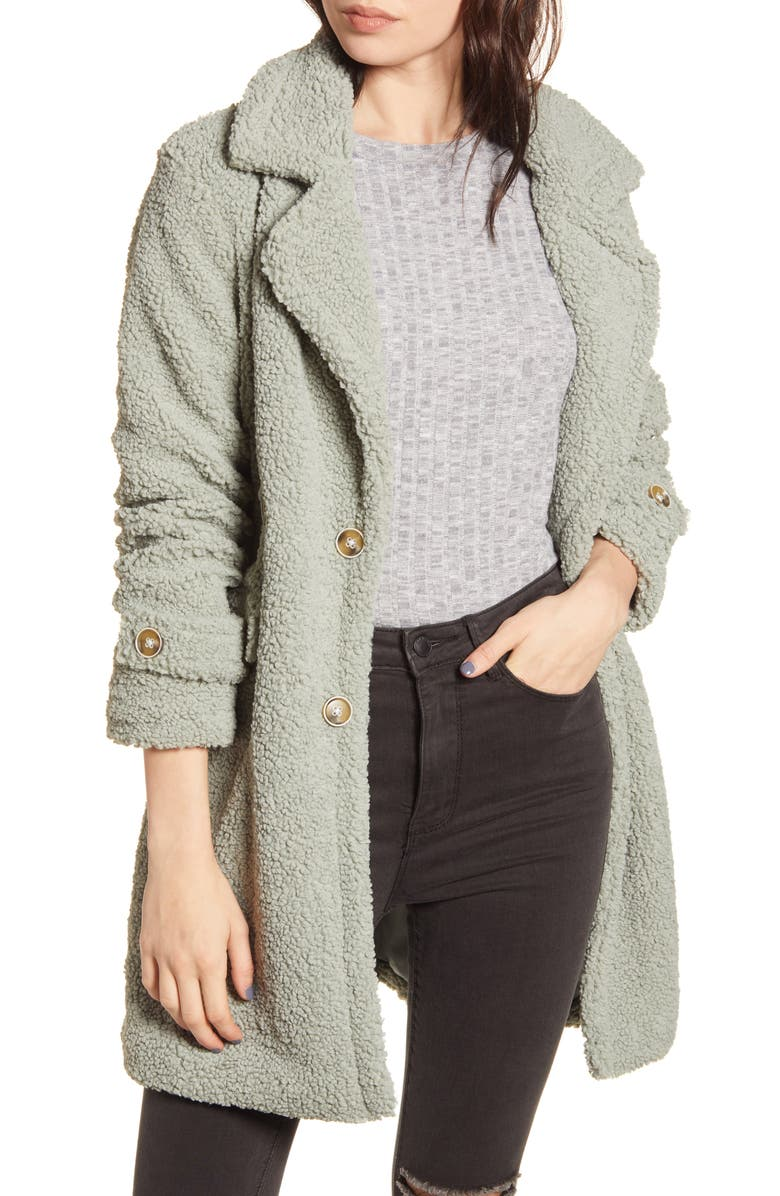 WOVEN HEART Faux Shearling Teddy Trench Coat, Main, color, MINT