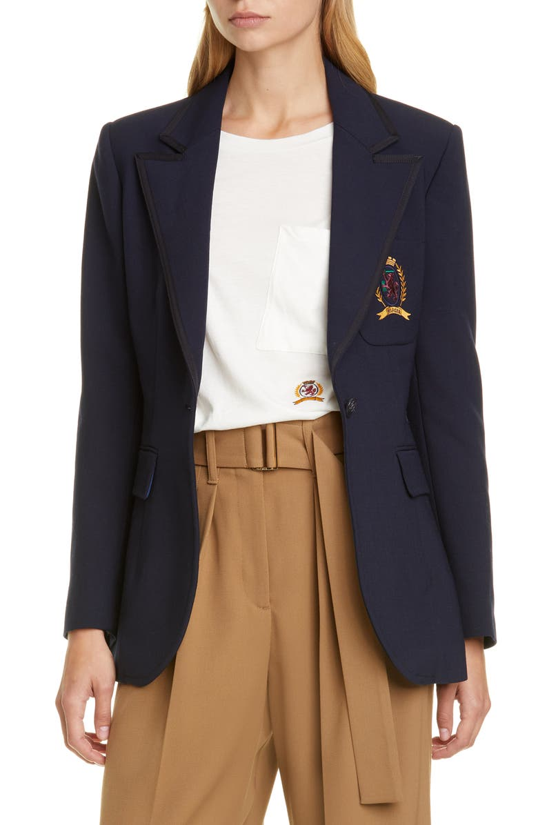 HILFIGER COLLECTION Crest Embroidered School Blazer, Main, color, DEEP WELL