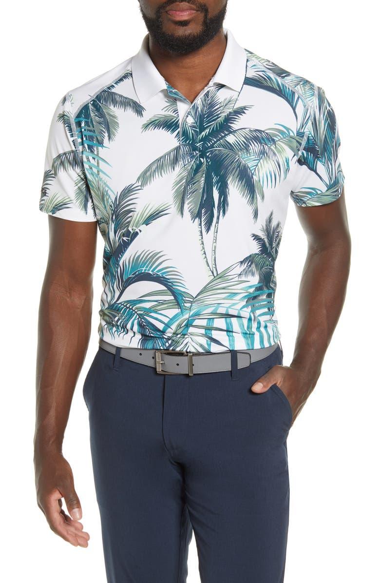 BONOBOS The M-Flex Slim Fit Palm Print Piqué Golf Polo, Main, color, CABANA COVE PALM PRINT
