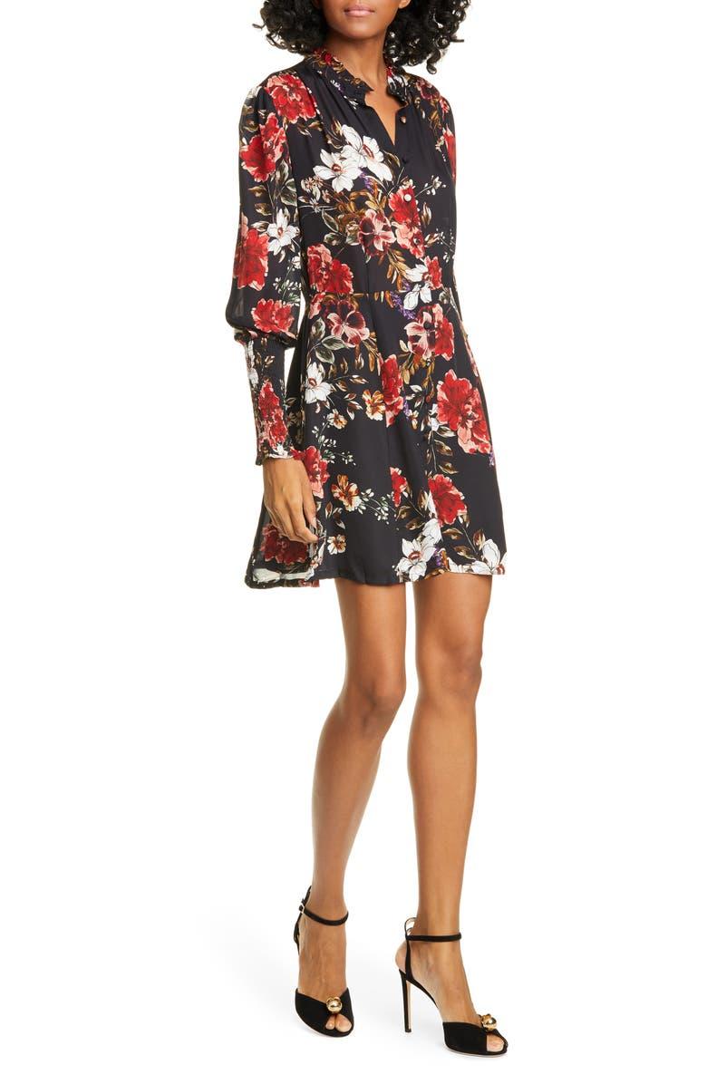 NICHOLAS Floral Long Sleeve Belted Silk Minidress, Main, color, GARNET MULTI