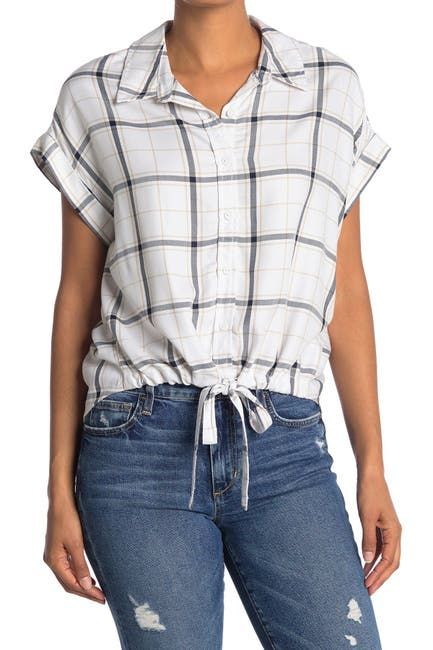 Image of Sanctuary Borrego Windowpane Tie Bottom Shirt