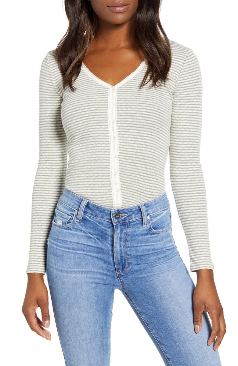 LUCKY BRAND Stripe Pointelle Button Front Top, Main, color, 060
