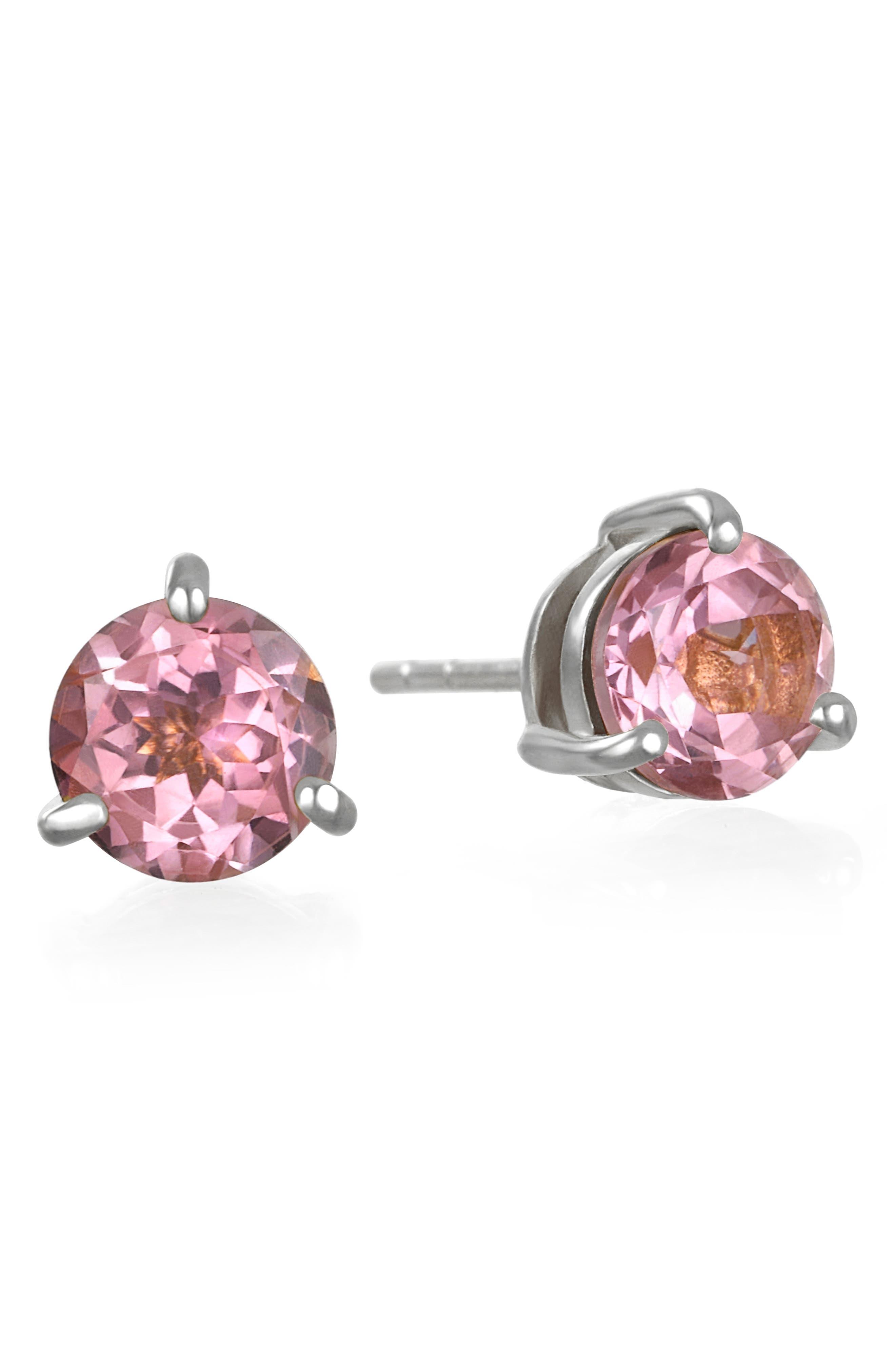 Amelia Rose Birthstone Stud Earrings in October/Pink Topaz Gold at Nordstrom