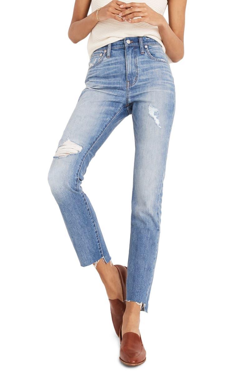 MADEWELL The High Waist Step Hem Slim Boy Jeans, Main, color, 400