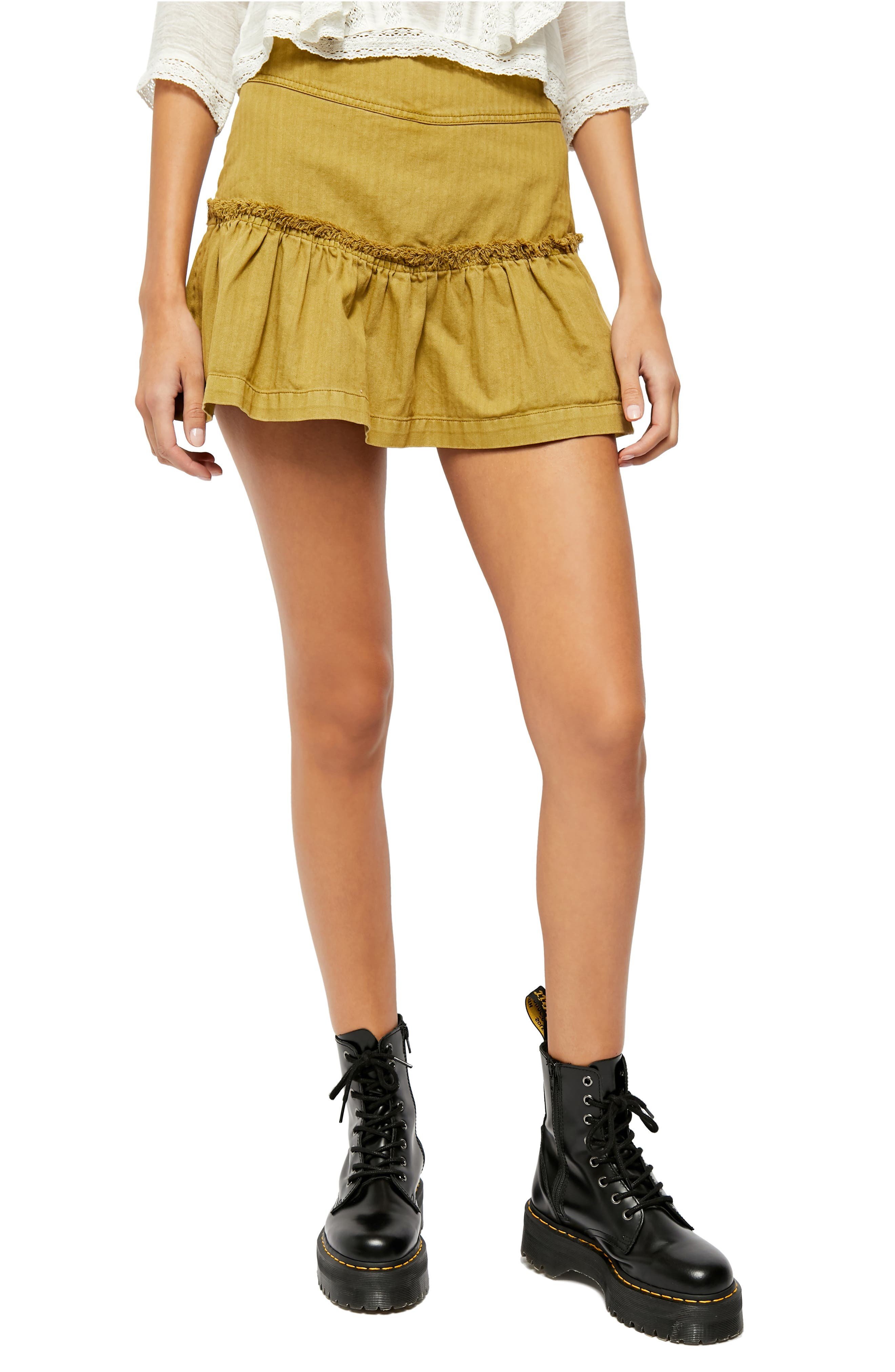 Image of Free People Positano Lace-Up Mini Skirt