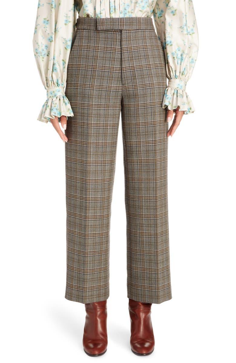 MARC JACOBS Plaid Wool & Silk Straight Leg Pants, Main, color, GREY MULTI