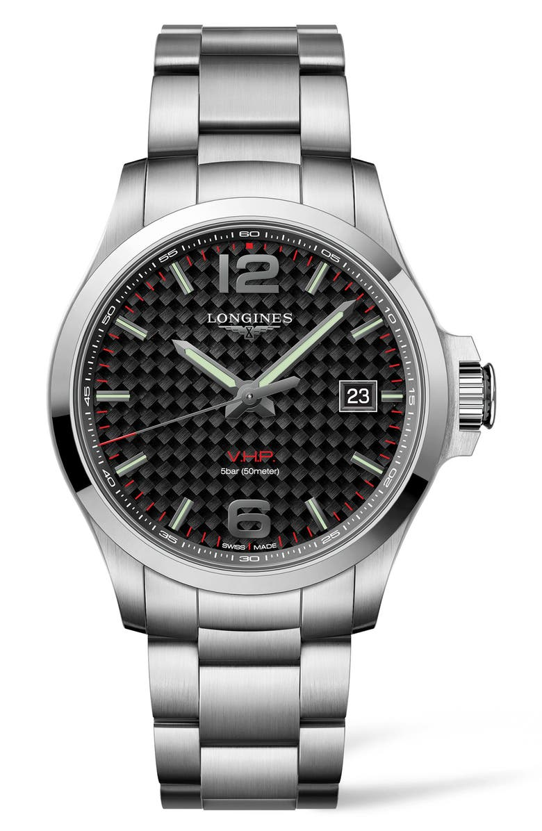 LONGINES Conquest VHP Bracelet Watch, 43mm, Main, color, SILVER/ CARBON FIBER/ SILVER