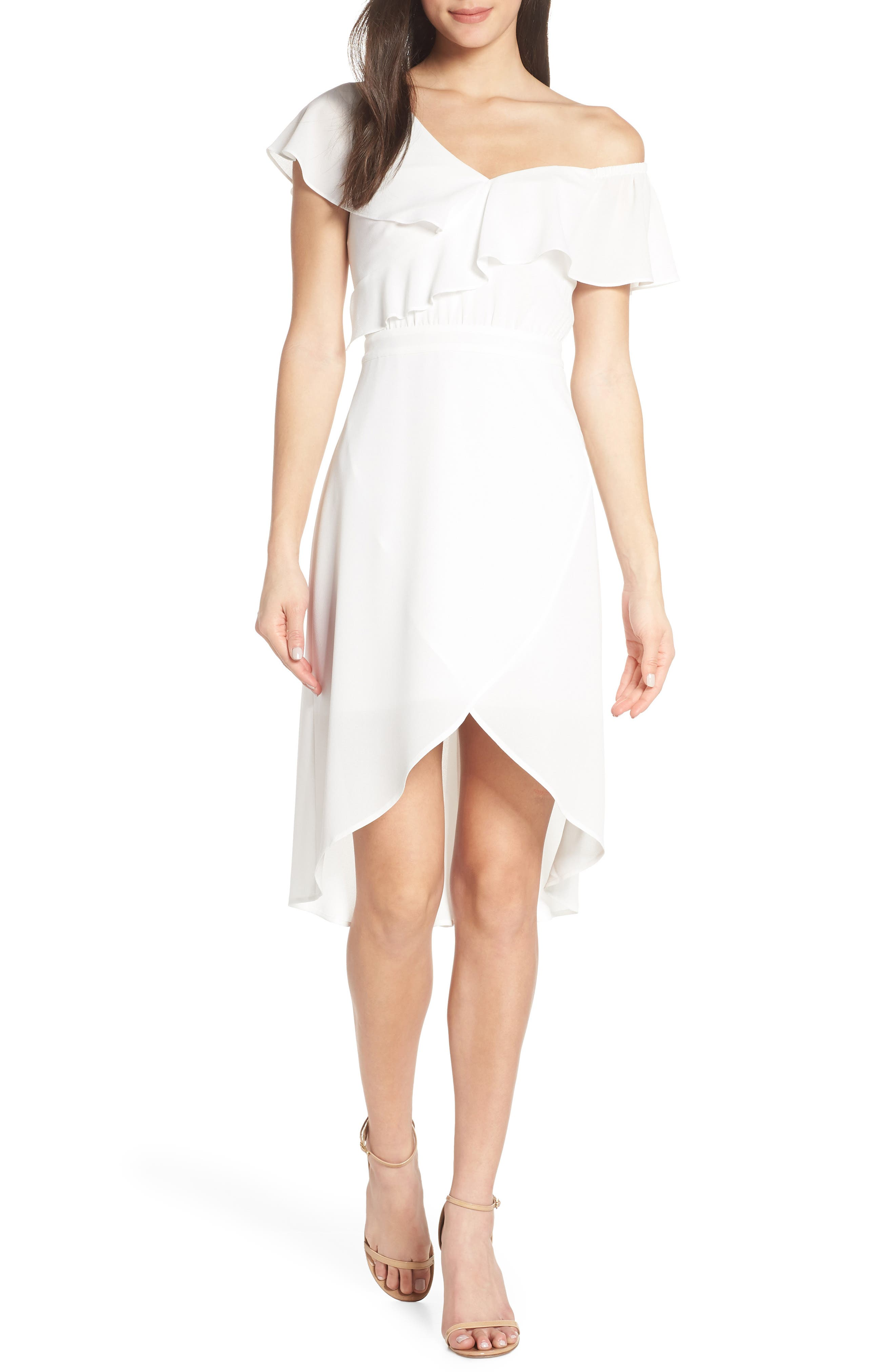 Day at the Races Chiffon Dress, Main, color, WHITE