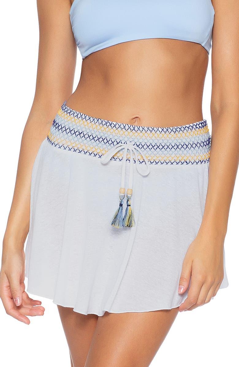 SOLUNA Sunset Cover-Up Skirt, Main, color, WHITE