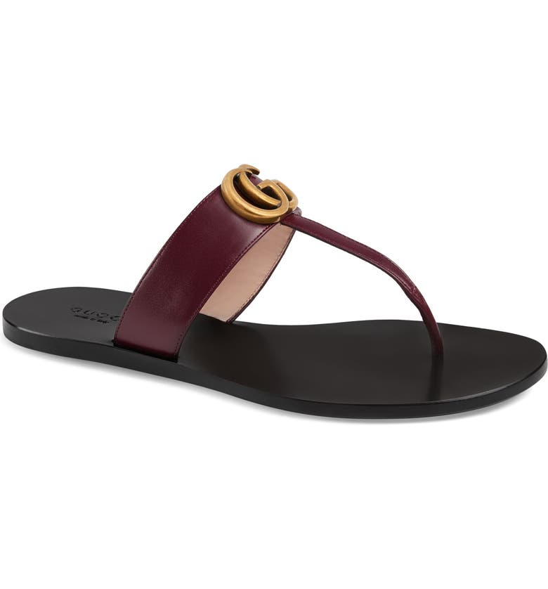 GUCCI Marmont T-Strap Sandal, Main, color, VINTAGE BORDEAUX