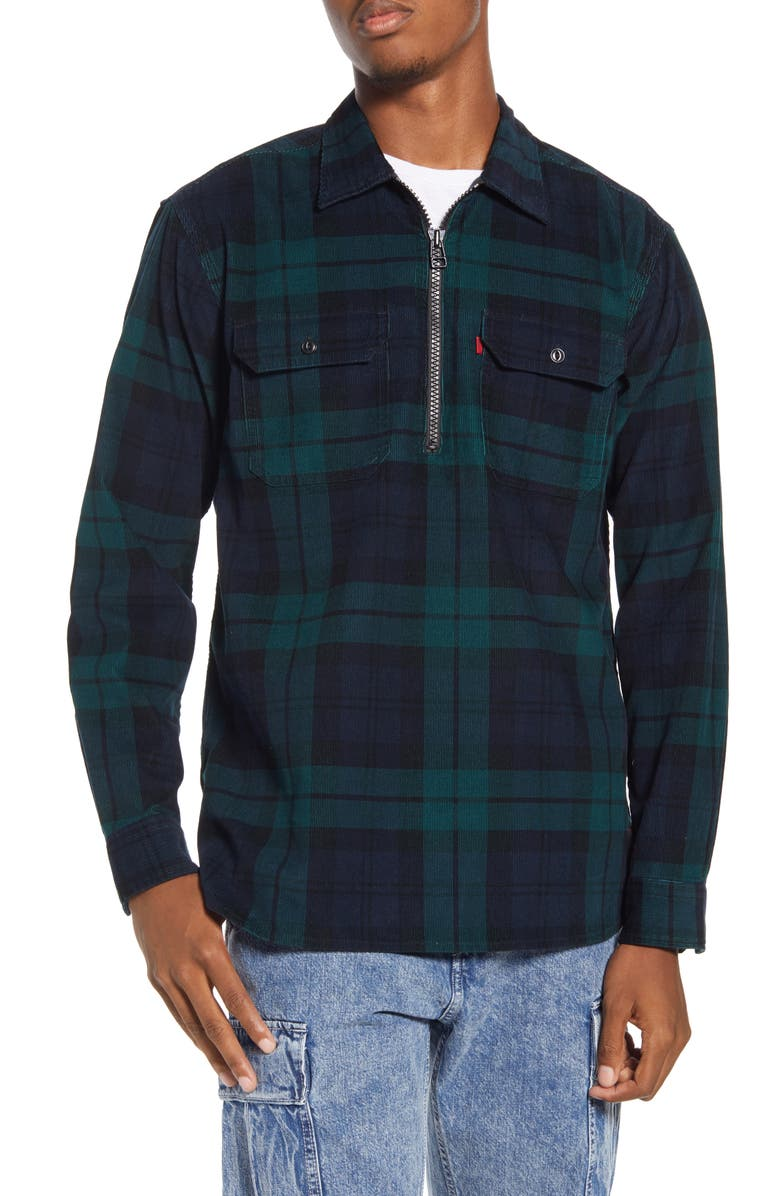 LEVI'S<SUP>®</SUP> x Justin Timberlake Half Zip Corduroy Popover Shirt, Main, color, BLACK WATCH PLAID