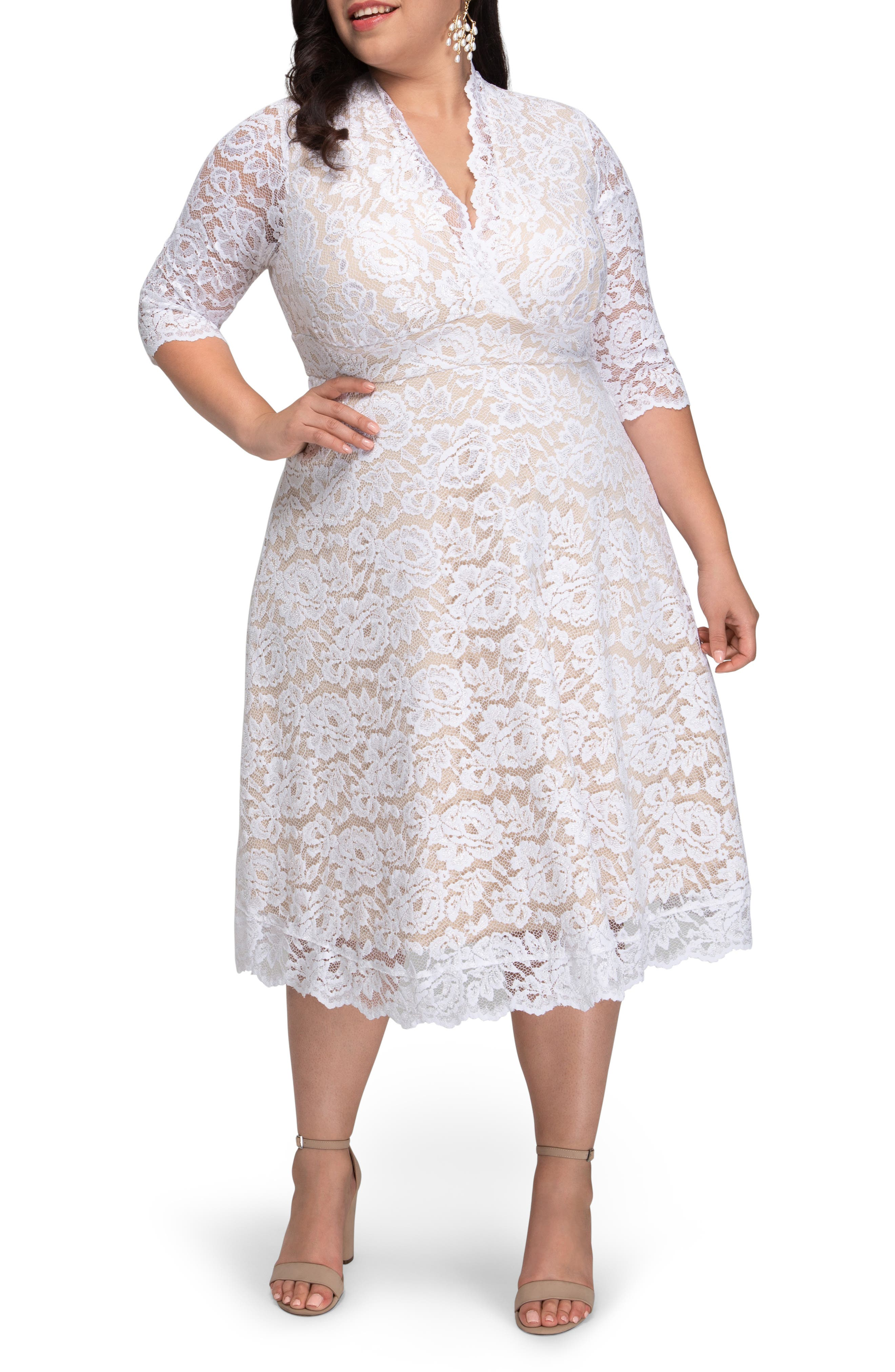 50s Wedding Dress, 1950s Style Wedding Dresses, Rockabilly Weddings Plus Size Womens Kiyonna Bella Lace Fit  Flare Dress Size 3X - White $198.00 AT vintagedancer.com
