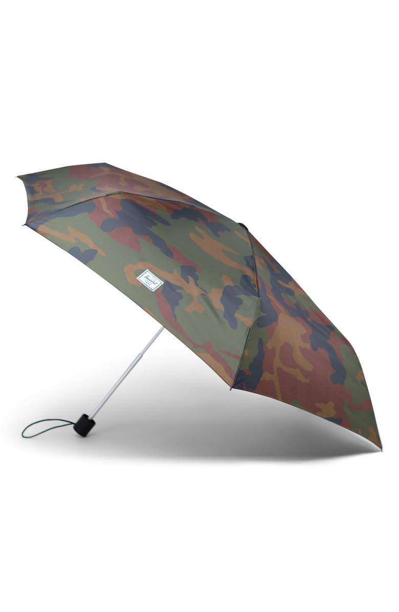 HERSCHEL SUPPLY CO. Voyage Triple Stage Umbrella, Main, color, WOODLAND CAMO/ DARK OLIVE