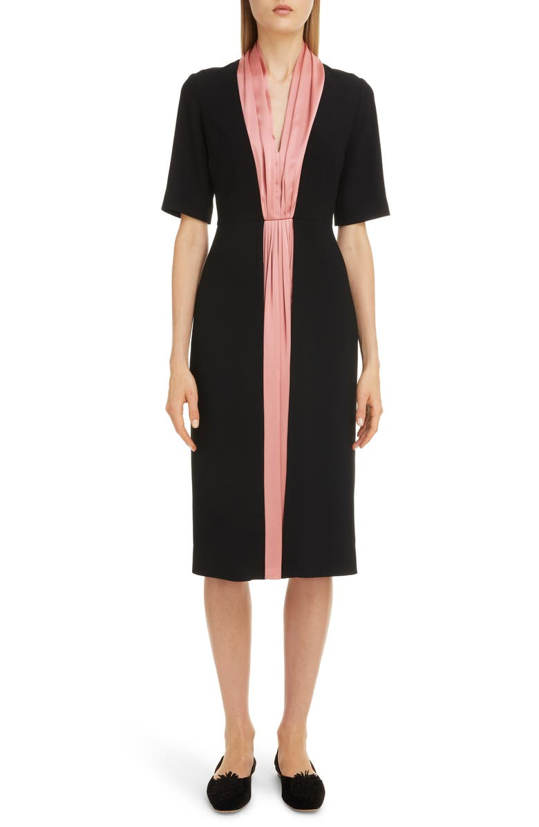 ROKSANDA Contrast Silk Stripe Midi Dress, Main, color, 001