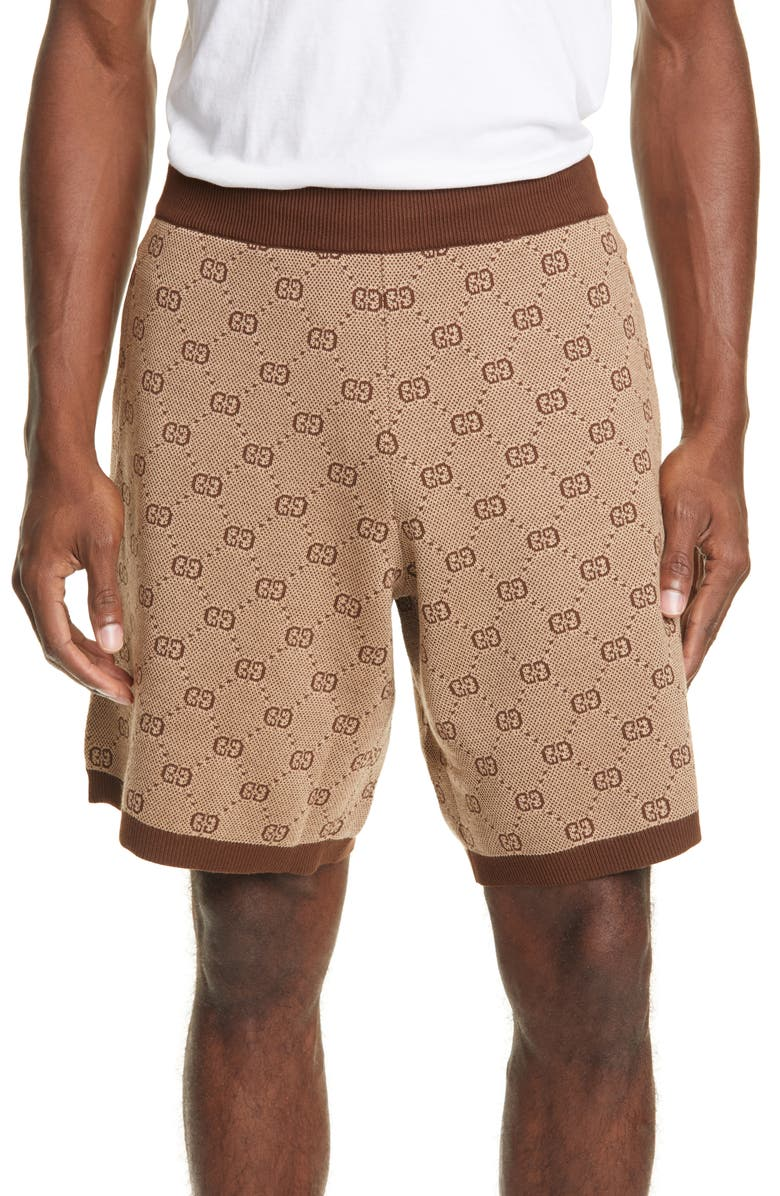 GUCCI GG Supreme Wool Blend Knit Shorts, Main, color, CAMEL MULTI COLOR