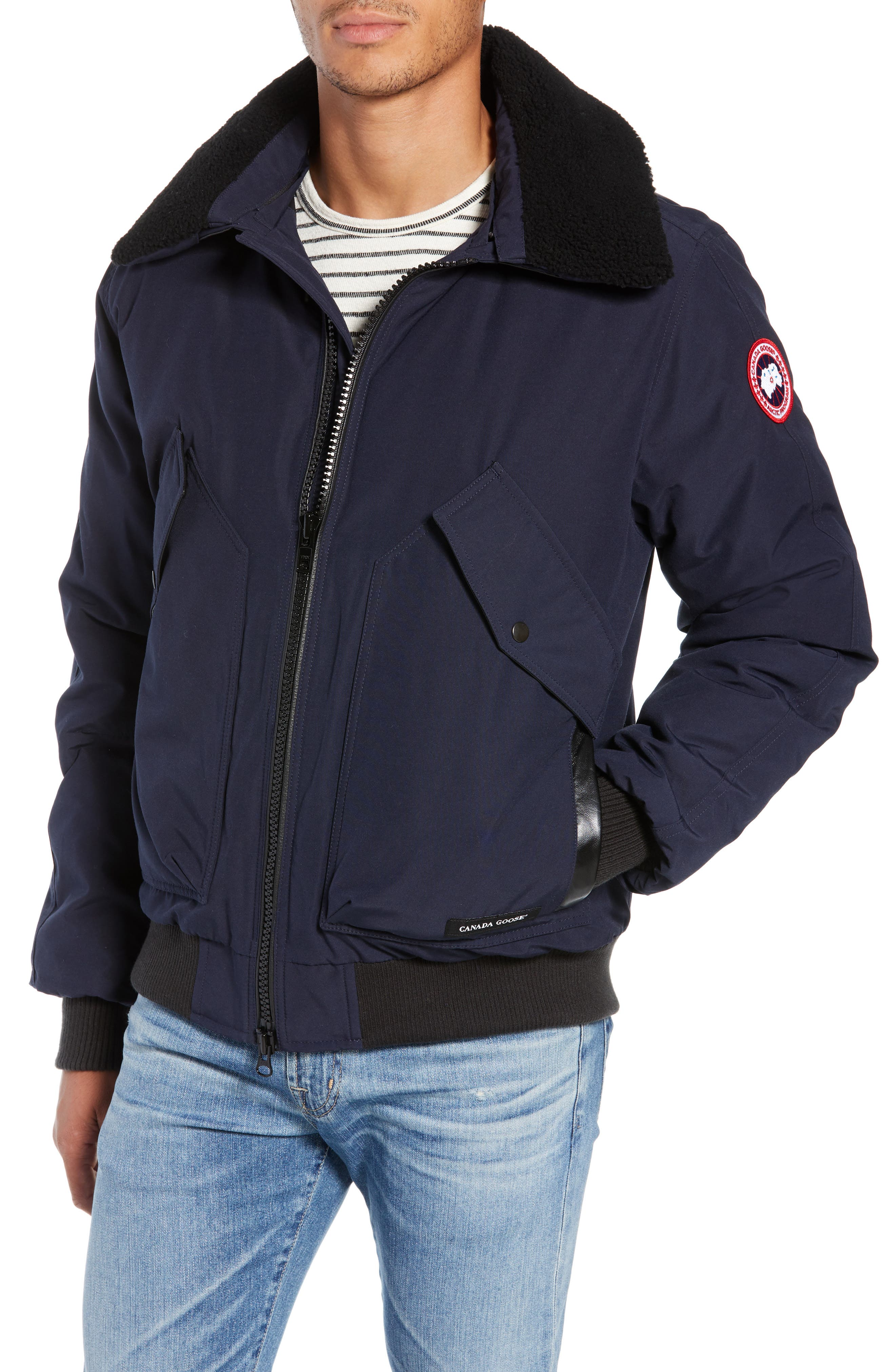 Canada Goose Bromley Slim Fit Down Bomber Jacket With Genuine Shearling Collar, Blue