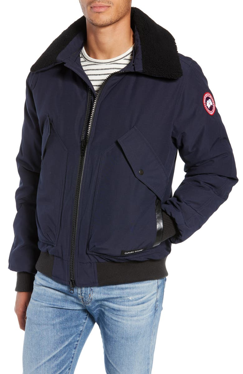 CANADA GOOSE Bromley Slim Fit Down Bomber Jacket with Genuine Shearling Collar, Main, color, ADMIRAL BLUE