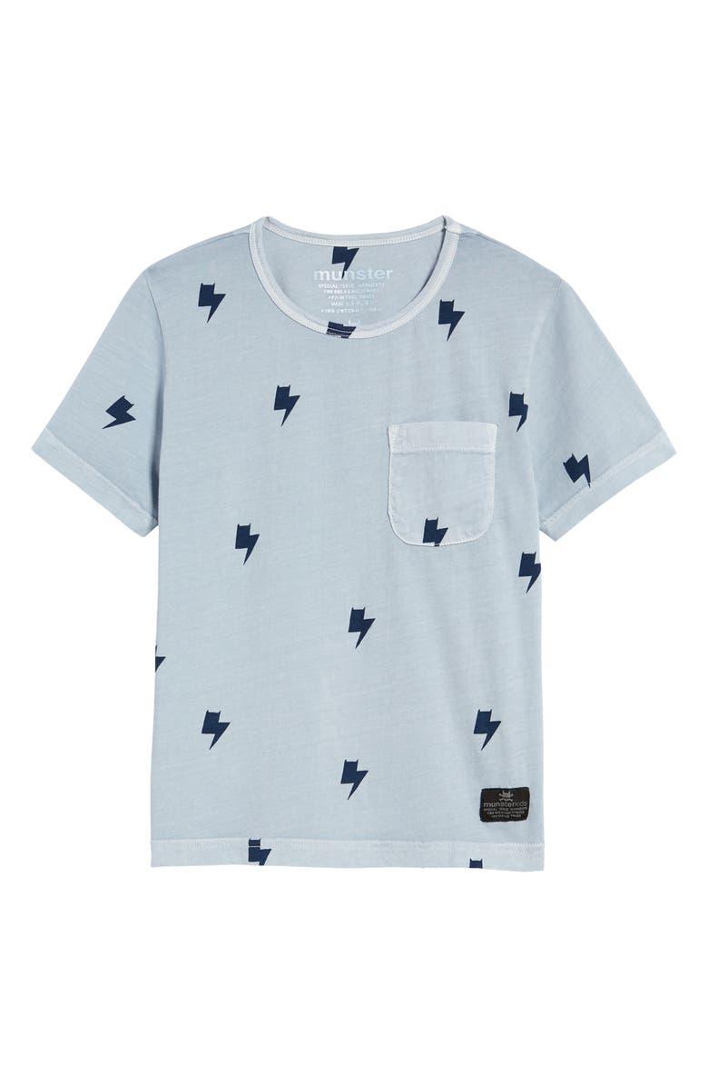 MUNSTERKIDS Lightning Bolts Pocket Graphic Tee, Main, color, WASHED BLUE