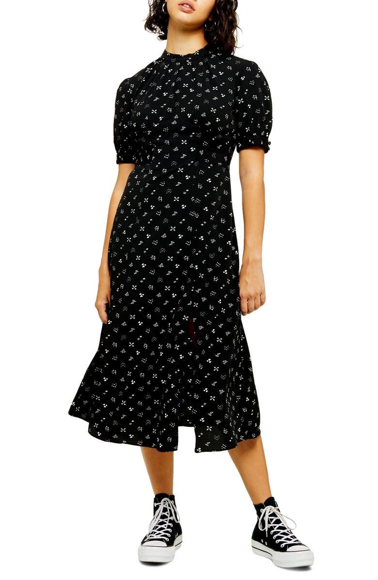 TOPSHOP Conversational Back Cutout Midi Dress, Main, color, BLACK MULTI