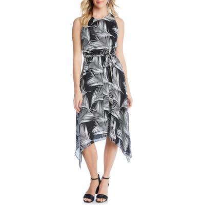 Karen Kane Handkerchief Hem Palm Print Crepe Dress, Black