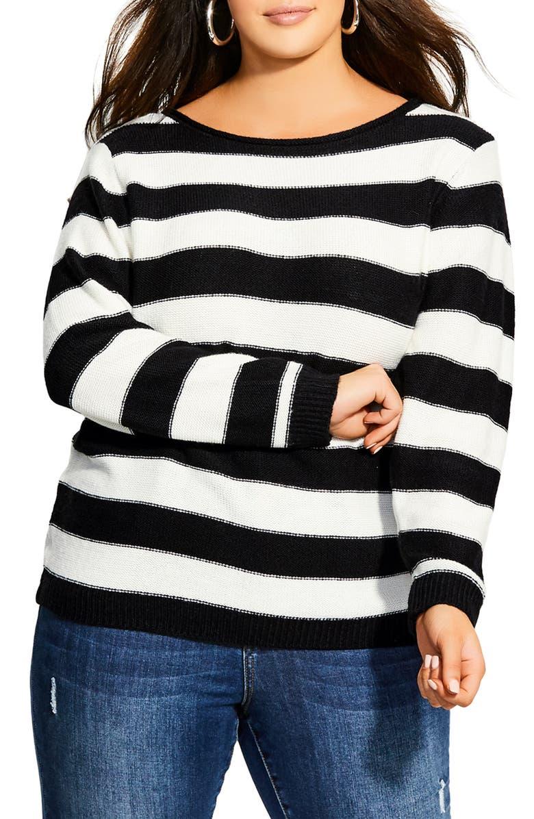 CITY CHIC Nautical Stripe Sweater, Main, color, 001