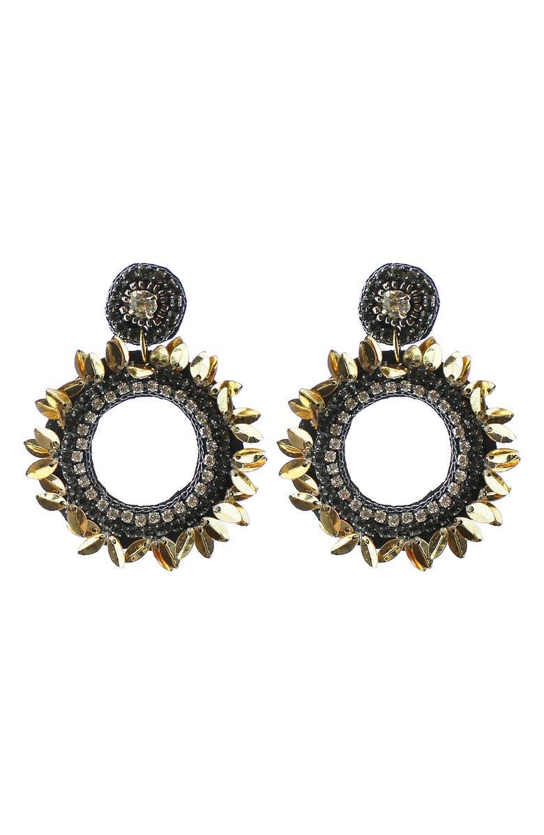 PANACEA Drop Circle Earrings, Main, color, HEMATITE