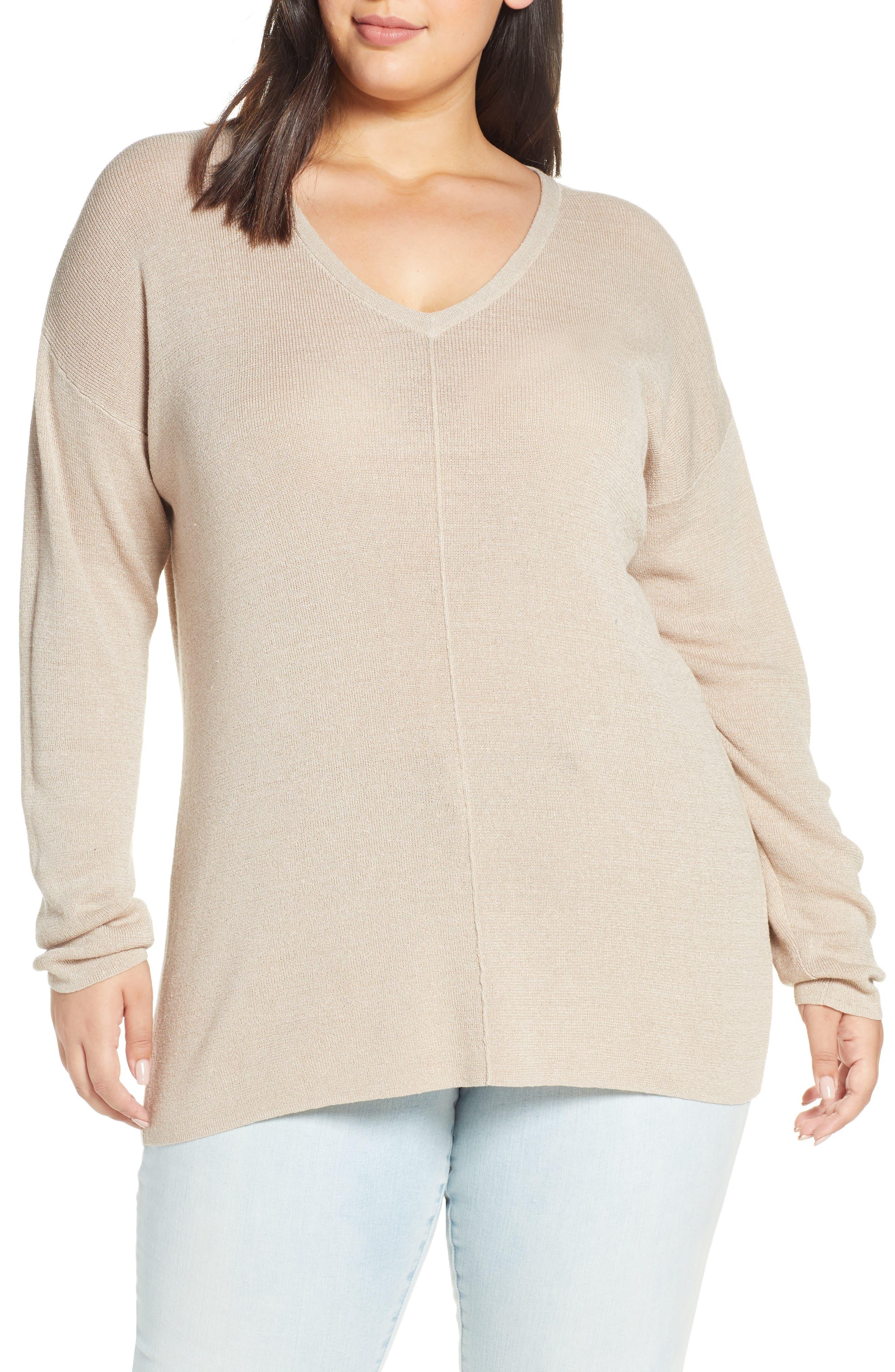 Plus Size Caslon V-Neck Linen Blend Sweater, Brown