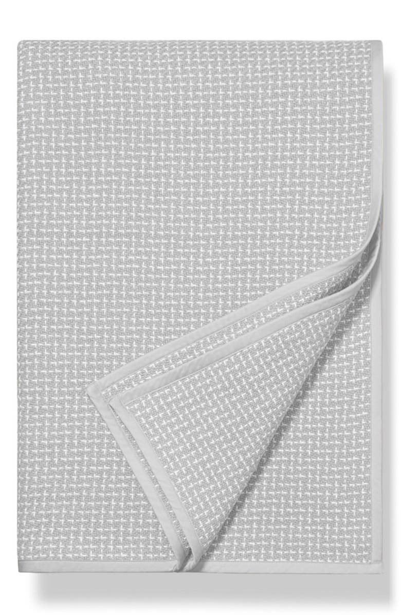 BOLL & BRANCH Pickstitch Blanket, Main, color, PEWTER-WHITE