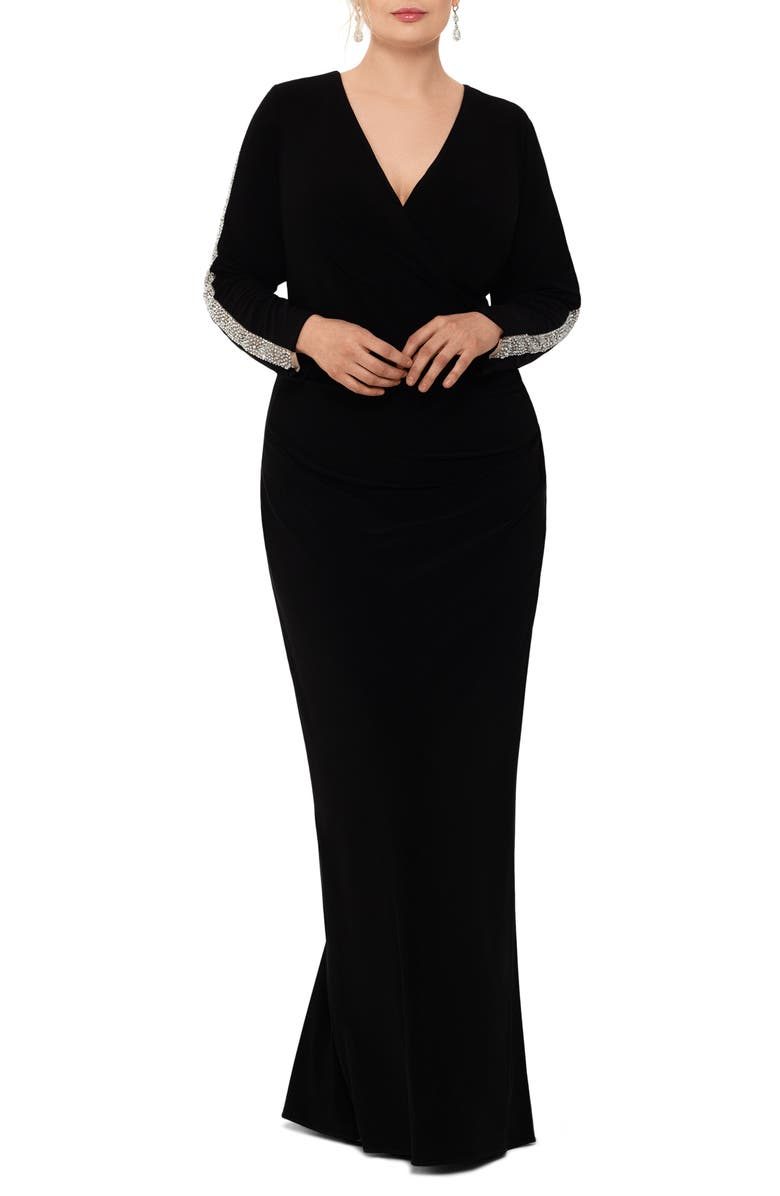 XSCAPE Bead Mesh Long Sleeve Gown, Main, color, BLACK/ NUDE/ SILVER