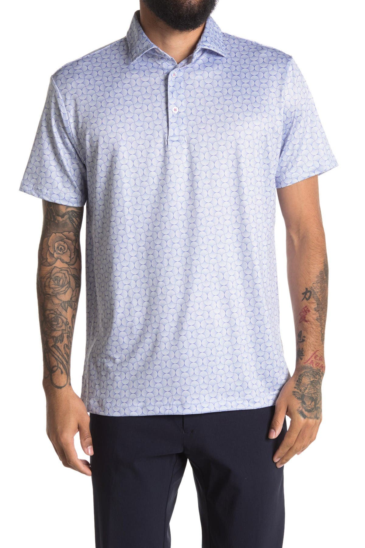 Image of TailorByrd Geo Print Performance Golf Polo