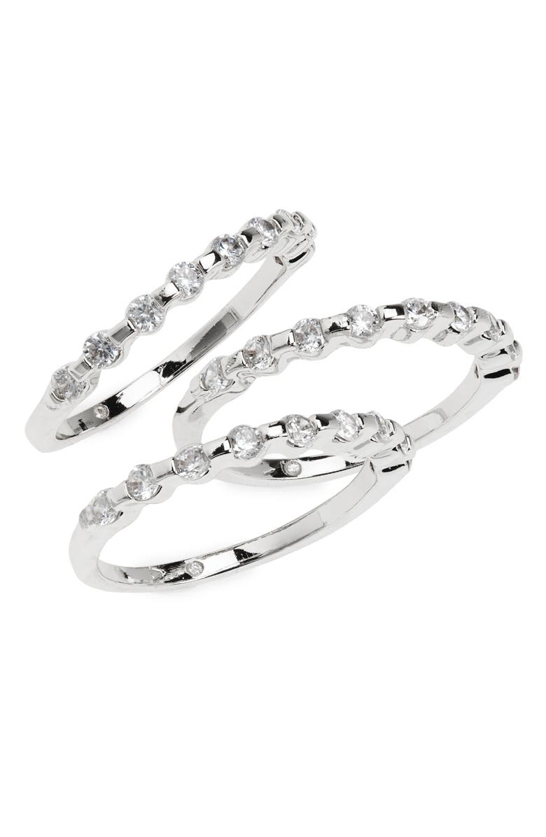 VINCE CAMUTO Nordstrom Set of 3 Crystal Stackable Rings, Main, color, SILVER