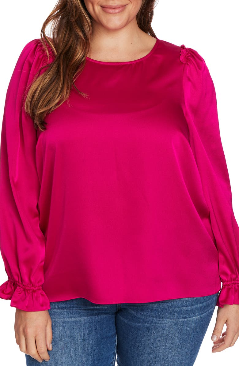 CECE Satin Ruffle Top, Main, color, PASSION PINK