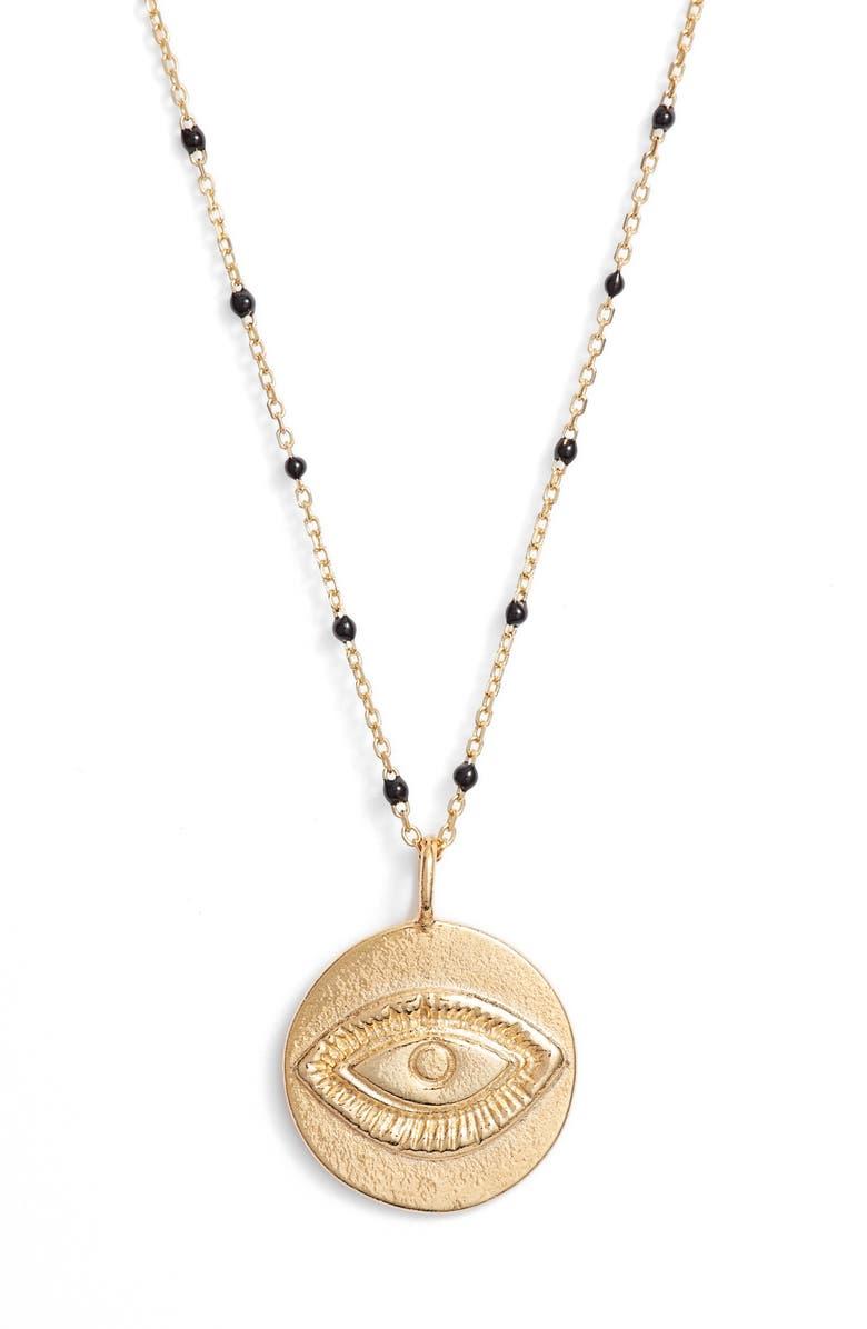 ARGENTO VIVO Evil Eye Pendant Station Necklace, Main, color, 710
