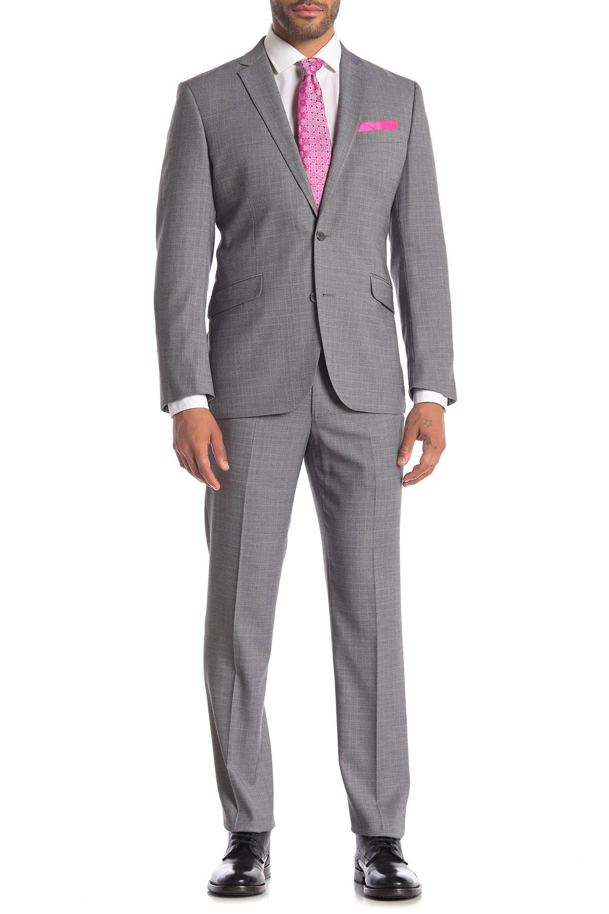 Image of Kenneth Cole Reaction Light Grey Plaid Techni-Cole Performance Slim Fit Suit