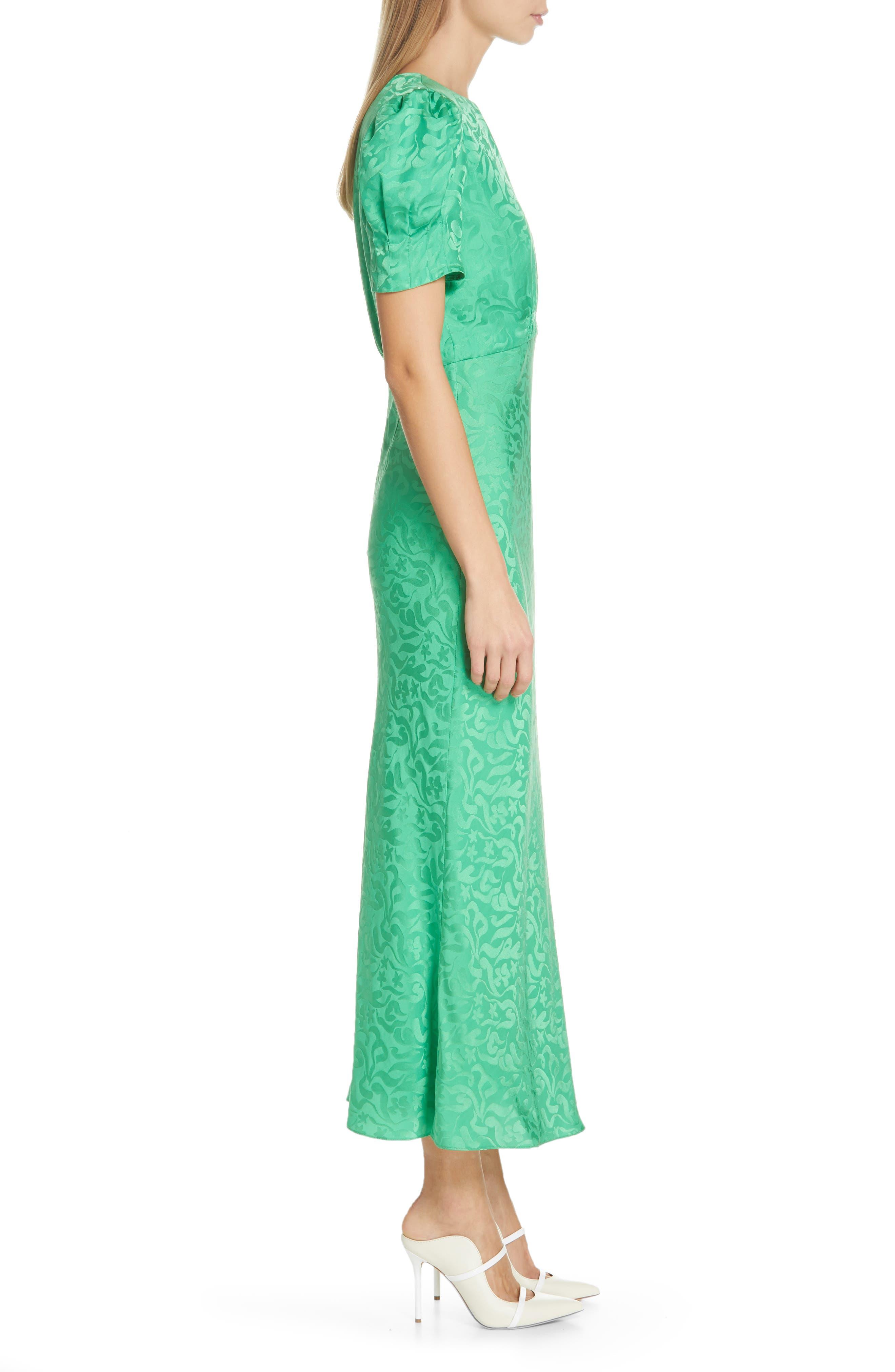 ,                             Bianca Puff Sleeve Silk Midi Dress,                             Alternate thumbnail 3, color,                             LEAF GREEN