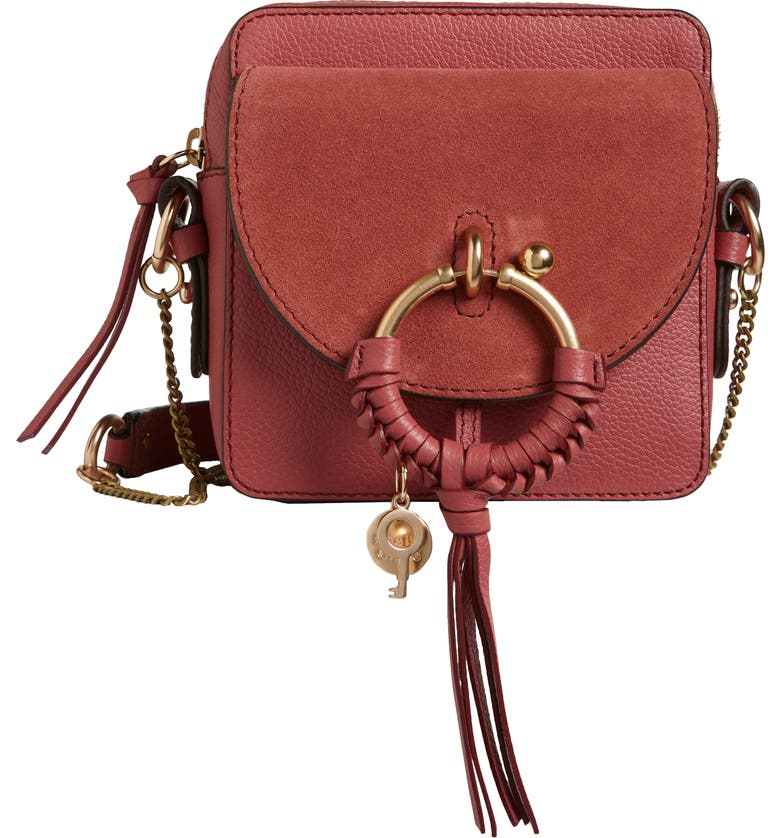 SEE BY CHLOÉ Small Joan Suede & Leather Crossbody Bag, Main, color, 650