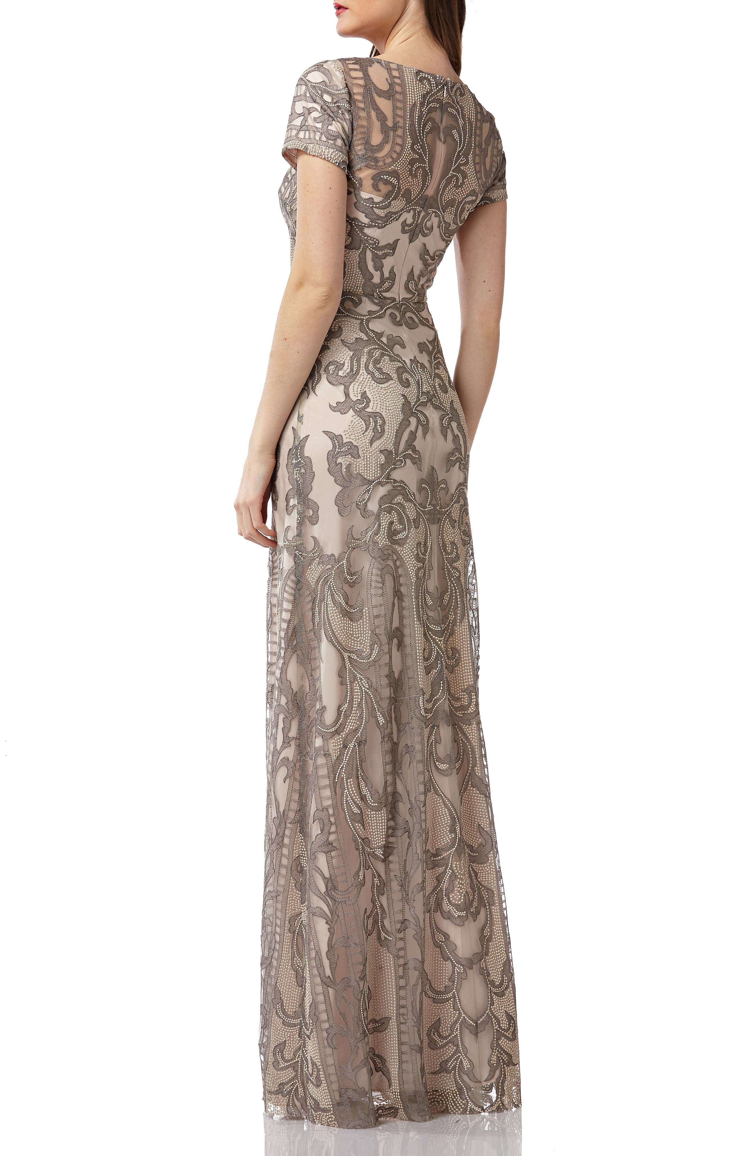 ,                             Embroidered A-Line Gown,                             Alternate thumbnail 2, color,                             ASHGOLD